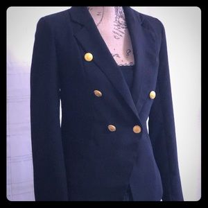 Black blazer with gold buttons